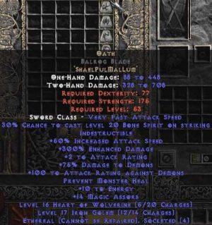 Oath Balrog Blade - Ethereal - 300-354% ED