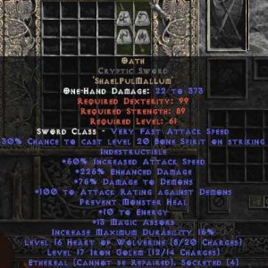 Oath Cryptic Sword - Ethereal - 210-299% ED