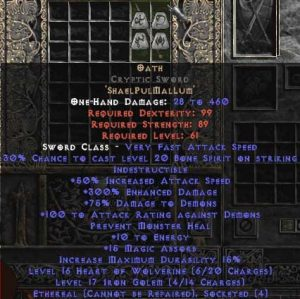 Oath Cryptic Sword - Ethereal - 300-354% ED