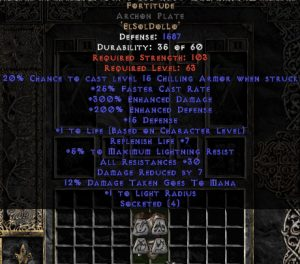 Fortitude Archon Plate - 30 Res & 1.5 Life - Perfect