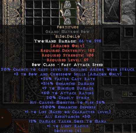 Fortitude Grand Matron Bow - 3 B&C - 30 Res & 1.5 Life - Perfect