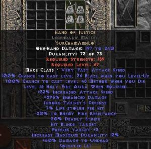 Hand of Justice Legendary Mallet - 280-329% ED