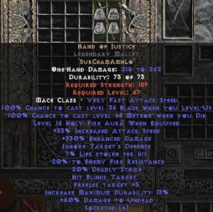 Hand of Justice Legendary Mallet - 330-344% ED