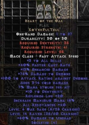 Heart of the Oak Flail - 40 Res - Perfect