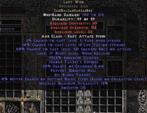 Last Wish Berserker Axe - 360-374% ED & 60-64% CB