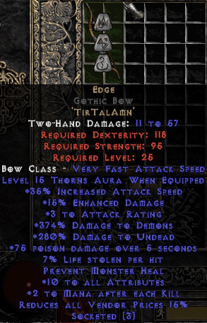 Edge Gothic Bow - 10 All Stats