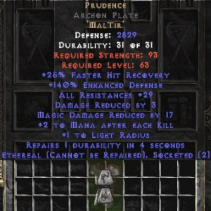 Prudence Archon Plate - Eth Bugged - 140-169% ED & 25-34 Res
