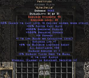 Fortitude Archon Plate - Eth Bugged - 25-29 Res & 1.5 Life