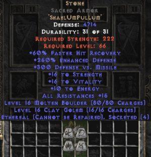 Stone Sacred Armor - Eth Bugged - 250-269% ED