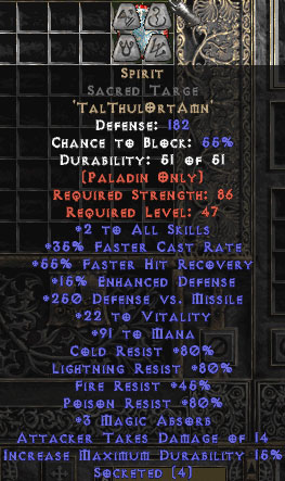 Spirit Sacred Targe - 45 Res - 35% FCR/112 Mana/8 MA - Perfect