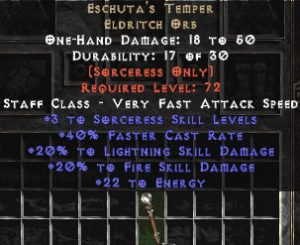 Eschuta's Temper +3 Sorc Skills & +20% Fire & Lightning Damage