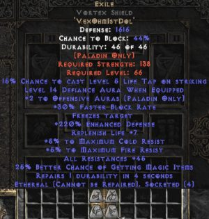 Exile Vortex Shield - Eth Bugged - 25-34 Res - 220-239% ED