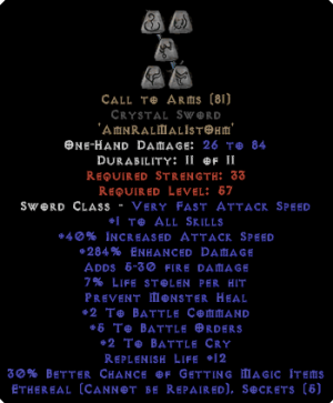 Call to Arms Crystal Sword - Ethereal - +4-5 BO