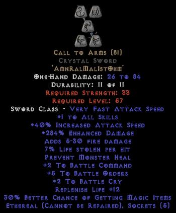 Call to Arms Crystal Sword - Ethereal - +4-5 BO