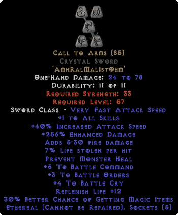 Call to Arms Crystal Sword - Ethereal - +1-3 BO