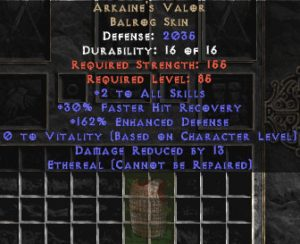 Arkaine's Valor - Ethereal - +2 All Skills