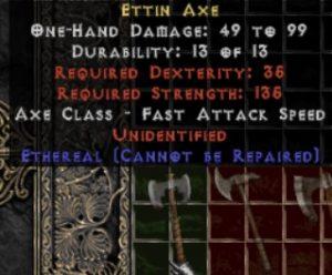 10x Unid Rare Ettin Axe Ethereal