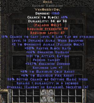 Exile Sacred Rondache - Eth Bugged - 65% ED/121 AR - 220-239% ED