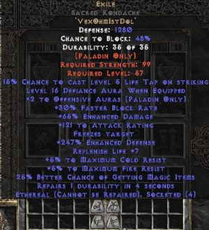 Exile Sacred Rondache - Eth Bugged - 65% ED/121 AR - 240-259% ED
