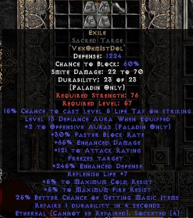 Exile Sacred Targe - Eth Bugged - 65% ED/121 AR - 220-239% ED