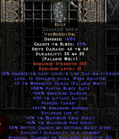 Exile Zakarum Shield - Eth Bugged - 65% ED/121 AR - 220-239% ED