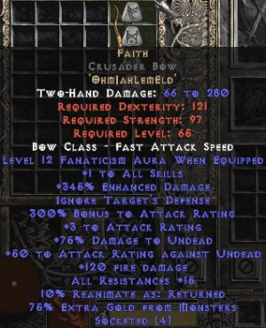 Faith Crusader Bow - 1 Skills & 12-14 Fanat