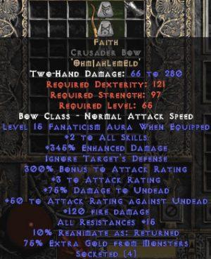 Faith Crusader Bow - 2 Skills & 15 Fanat & 345% ED & 3 AR- Perfect