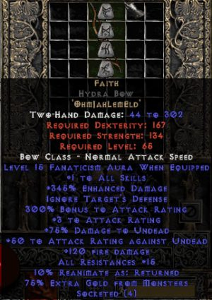 Faith Hydra Bow - 1 Skills & 15 Fanat