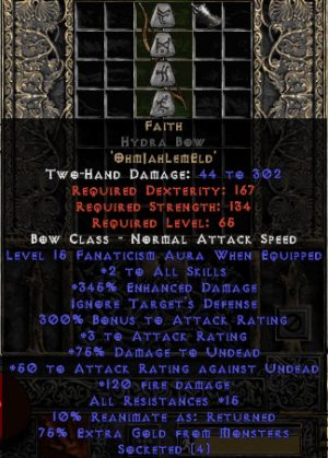 Faith Hydra Bow - 2 Skills & 15 Fanat & 345% ED - Perfect