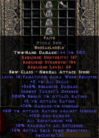 Faith Hydra Bow - 2 Skills & 15 Fanat & 345% ED - Perfect