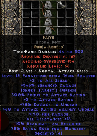 Faith Hydra Bow - 2 Skills & 15 Fanat & 345% ED & 3 AR- Perfect