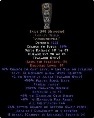 Exile Kurast Shield - Eth Bugged - 45 Res - 220-239% ED