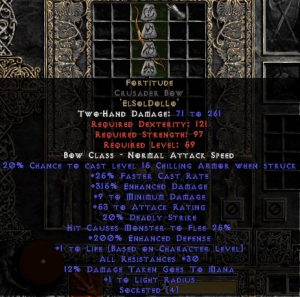 Fortitude Crusader Bow - 25-29 Res & 1.5 Life