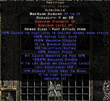 Fortitude Crystal Sword - 30 Res & 1-1.375 Life