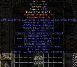 Fortitude Sacred Armor - Eth Bugged - 30 Res & 1.5 Life - Perfect