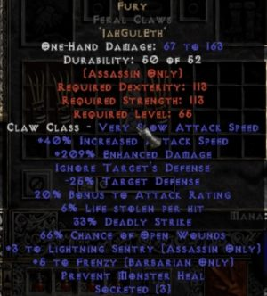 Fury Feral Claws - 3 LS - 0-14% ED
