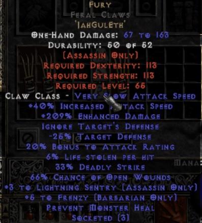 Fury Feral Claws - 3 LS - 0-14% ED