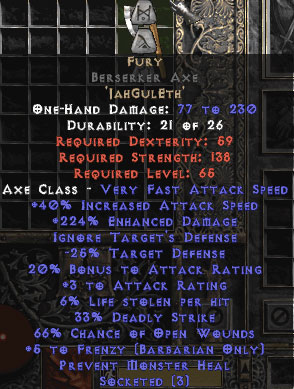 Fury Berserker Axe - 0-14% ED