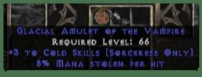 Sorceress Amulet - 3 Cold Spells & 8% ML