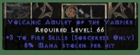 Sorceress Amulet - 3 Fire Spells & 8% ML