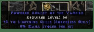 Sorceress Amulet - 3 Lightning Spells & 8% ML