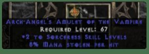 Sorceress Amulet - 2 All Sorc Skills & 8% ML