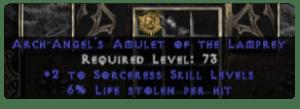 Sorceress Amulet - 2 All Sorc Skills & 6% LL