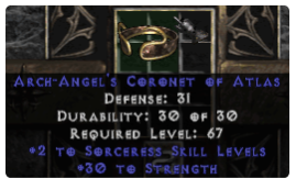 -+2 Sorceress Skills/30 Str Diadem/Tiara/Circlet - 0 Socket