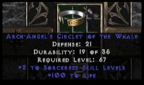 -+2 Sorceress Skills/100 Life Diadem/Tiara/Circlet - 2 Socket