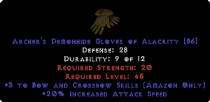 Amazon Gloves - 3 Bow/Crossbow Skills & 20% IAS