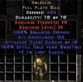 Goldskin - 405 Def, +150% ED - Perfect