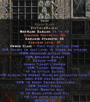 Grief Phase Blade - 30-34% IAS & 400 Damage