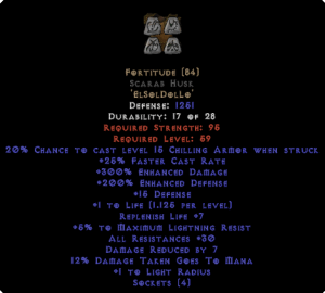 Fortitude Scarab Husk - 30 Res & 1.5 Life - Perfect