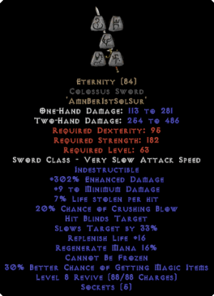 Eternity - Colossus Sword - Ethereal - 290-309% ED